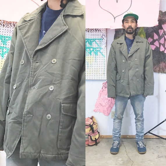 Vintage pea coat early 1990's army style jacket 1980s green size medium