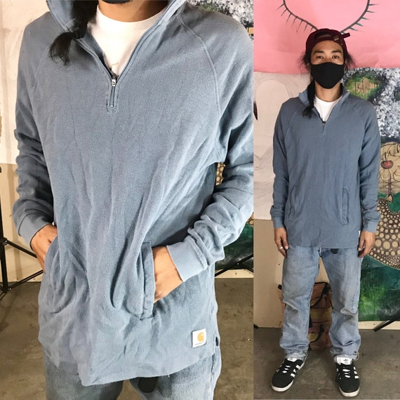 Vintage Carhartt Blue Sweater Cotton 1/4 Zip Large 1990s 1980s