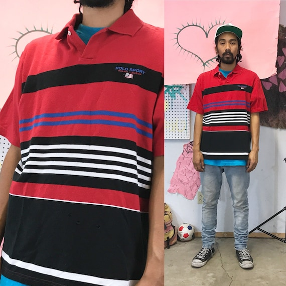 Vintage Red Striped Polo by Polo Sport Medium 1990s 1980s