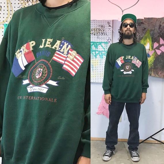 Vintage express sweatshirt 1980's 1990s oversized sweatshirt embroidered preppy guess green sweatshirt