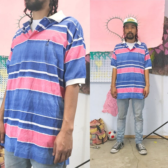 Vintage Nautica Pink Blue Striped Polo 1990s 1980s