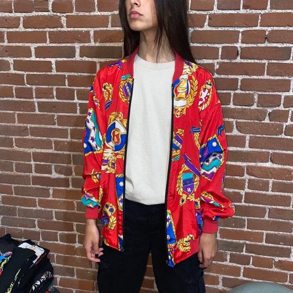 vintage silk bomber jacket baroque 90s 80s vaporw… - image 2
