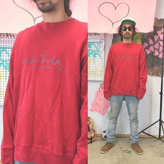 Vintage red sweatshirt kenneth cole reaction oversized size large late 90's y2k