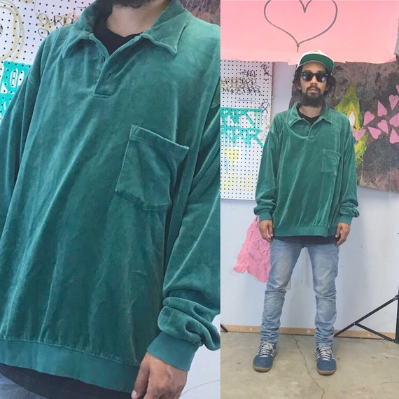 Vintage velour sweatshirt collar pullover jumper green sweatshirt 1990s 1980s