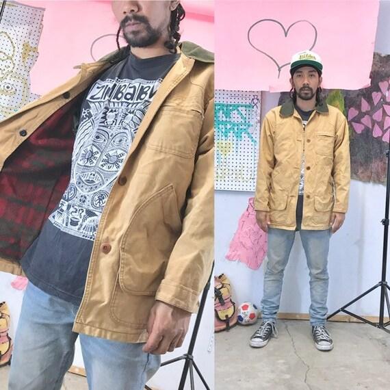 Vintage ll bean jacket chore jacket 1990s 1980s tan corduroy size medium
