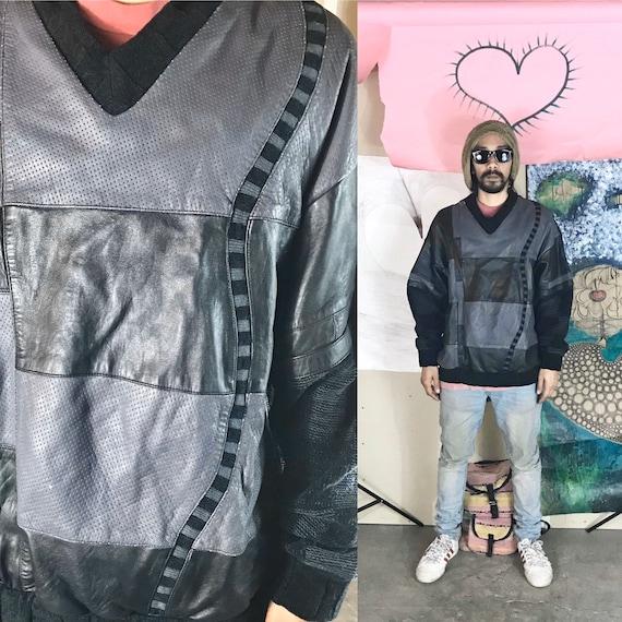 Vintage Saxony Knit Sweater Gray Black Leather Patchwork XL 1990s 1980s