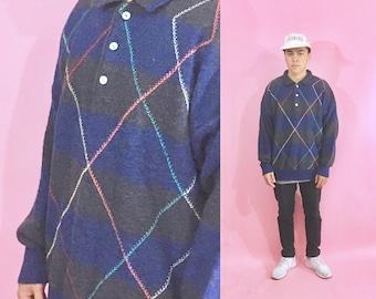 Vintage wool sweater argyle sweater 1990s 1980s 90s 80s blue grey blue