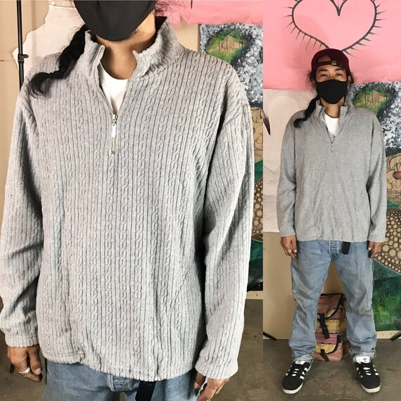 Vintage Liz Claiborne Gold Fleece 1/4 Zip Sweater Polyester Rayon Large 1980s 1990s