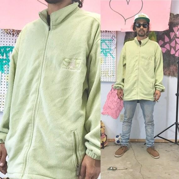 Vintage fleece sweatshirt green quarter zip 1990s 1980s size xl