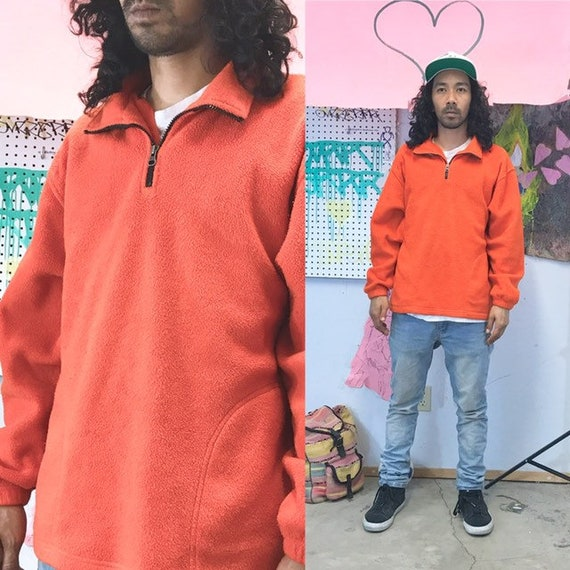 Vintage orange fleece sweatshirt quarter zip size medium 1990s 1980s