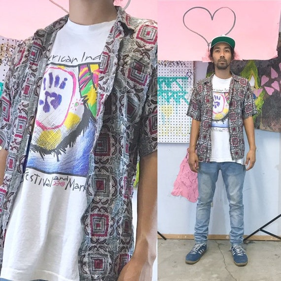 Vintage all over print shirt loud print 1990s 1980s fresh prince nightclub size small