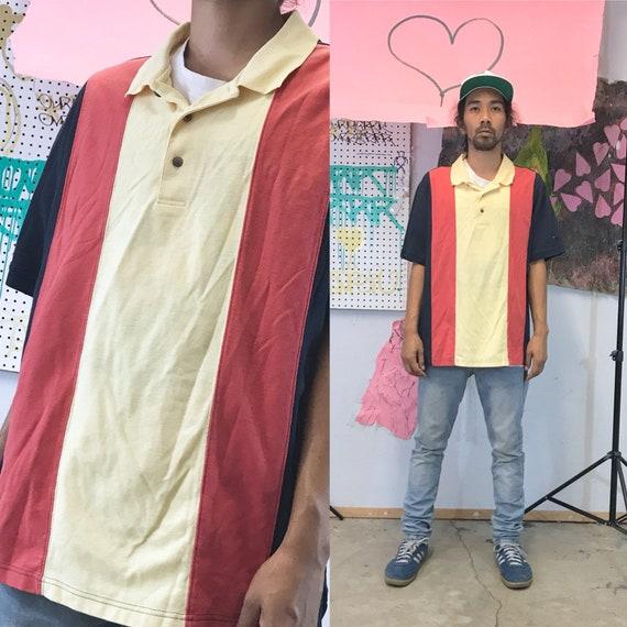 Vintage striped polo shirt size large 1990s 1980s cross colours karl kani