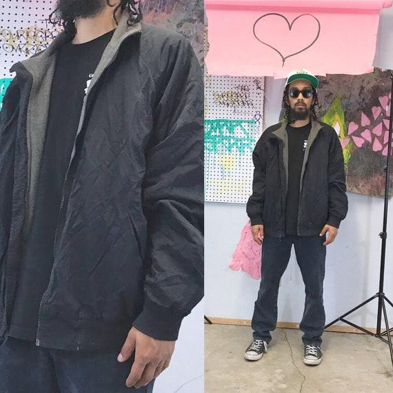 Vintage windbreaker jacket fleece lining size large black