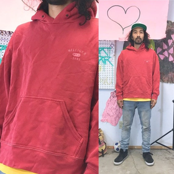Vintage tommy hilfiger hoodie red 1980s 1990s size large