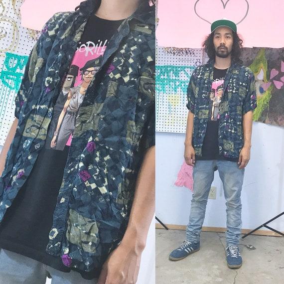 Vintage all over print shirt rayon loud print 1990s 1980s size medium fresh prince