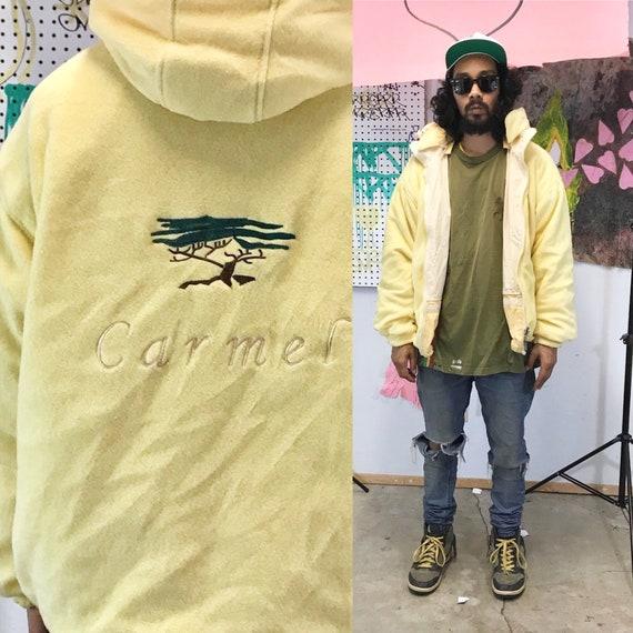 Fleece zip up hoodie jacket vintage 1990's carmel pastel yellow size large