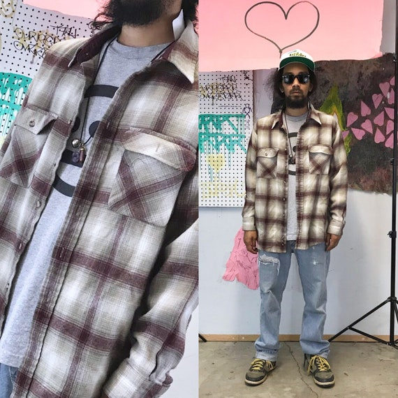 Vintage brown plaid flannel shirt grunge 1990s 1980s brown