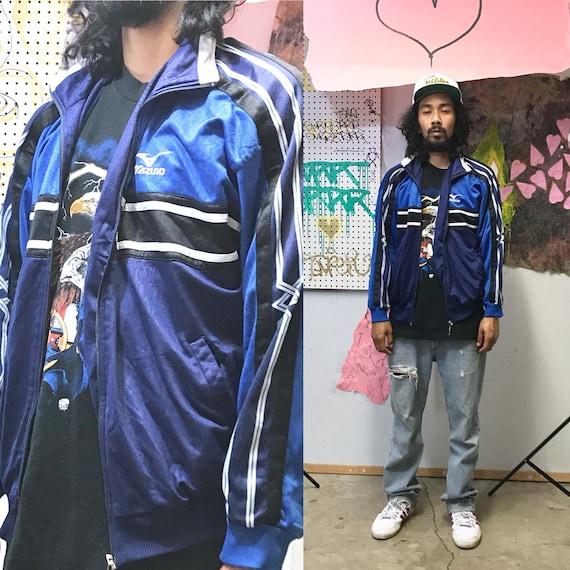 Vintage Mizuno track jacket blue black arm stripes size medium