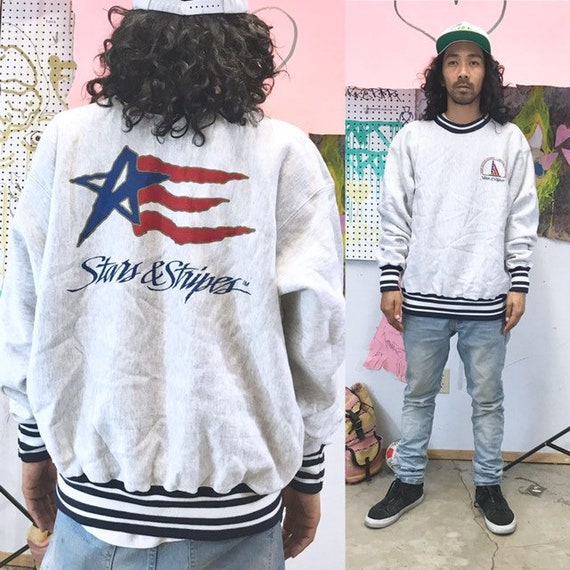 Vintage sweatshirt usa stars and stripes size xl 1990s 1980s grey flag july 4th