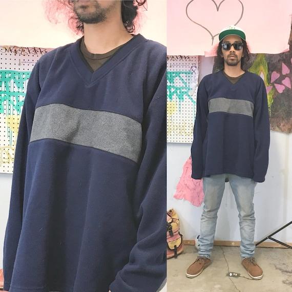Vintage fleece sweatshirt blue grey y2k late 90's size xxl vneck
