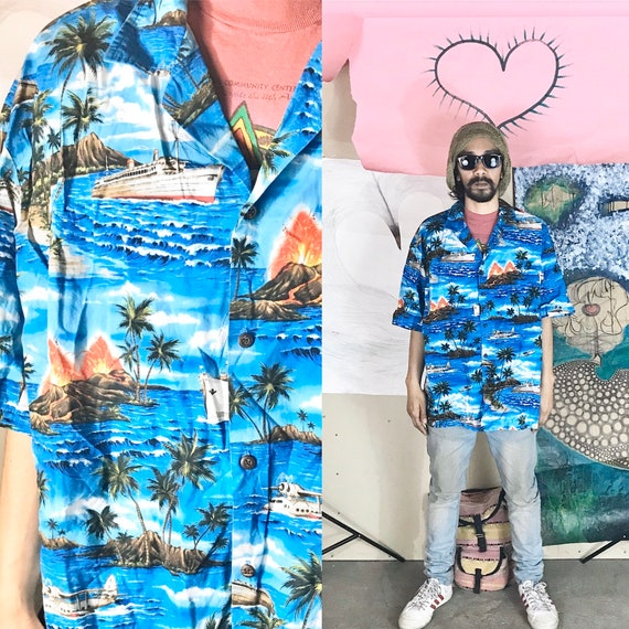 Vintage Aloha Republic Button Up All Over Print Blue Large 1990s 1980s
