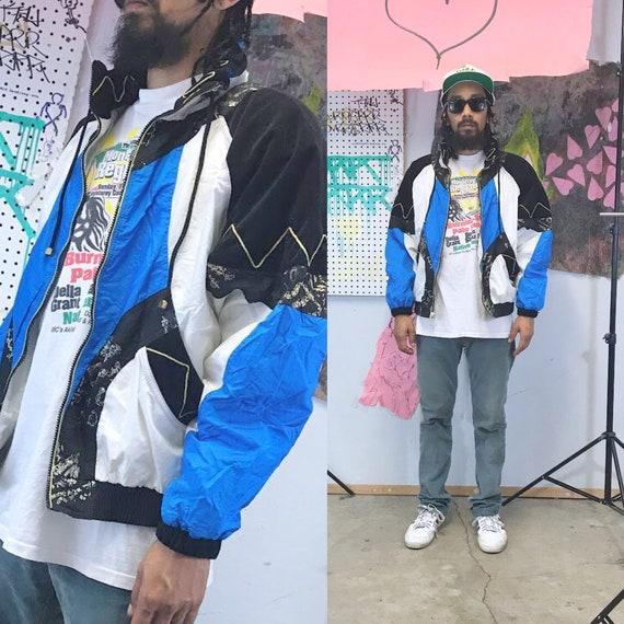 Vintage windbreaker jacket 1980's loud print jacket cut and sew large