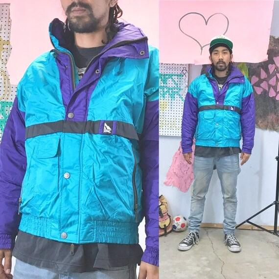Vintage ski jacket windbreaker 1990s 1980s teal black size small