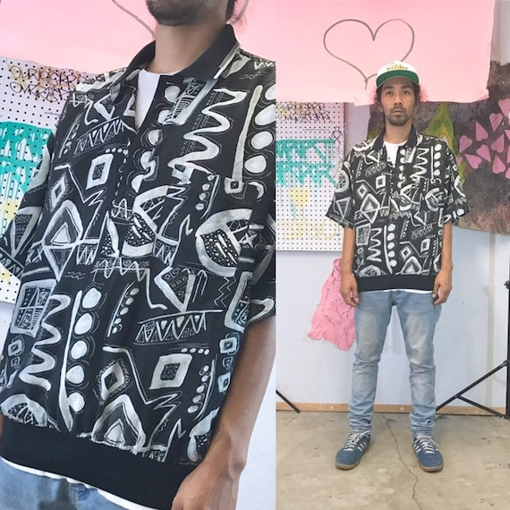 Vintage all over print shirt size medium squiggles new wave keith haring 1990s 1980s