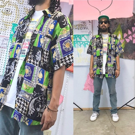 Vintage shirt 90s loud print all over print baroque versace style print 1980s