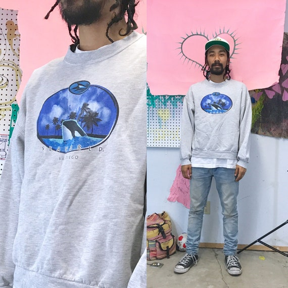 Vintage Seaworld Crewneck Sweatshirt Gray Large 1990s 1980s