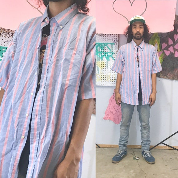 Vintage striped shirt early 90's blue pink 1990s 1980s size xl