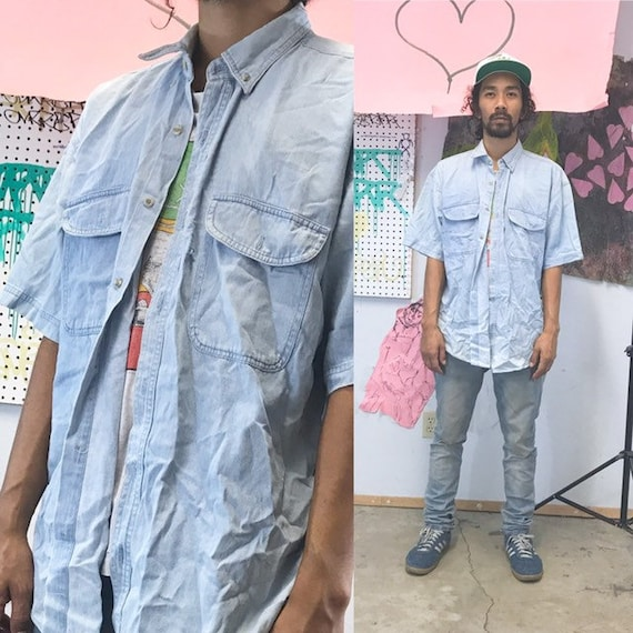 Vintage denim shirt 1990s 1980s pocket size large shirt boxy fit saved by the bell