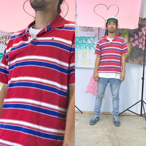 Vintage tommy hilfiger striped polo shirt size sm… - image 1