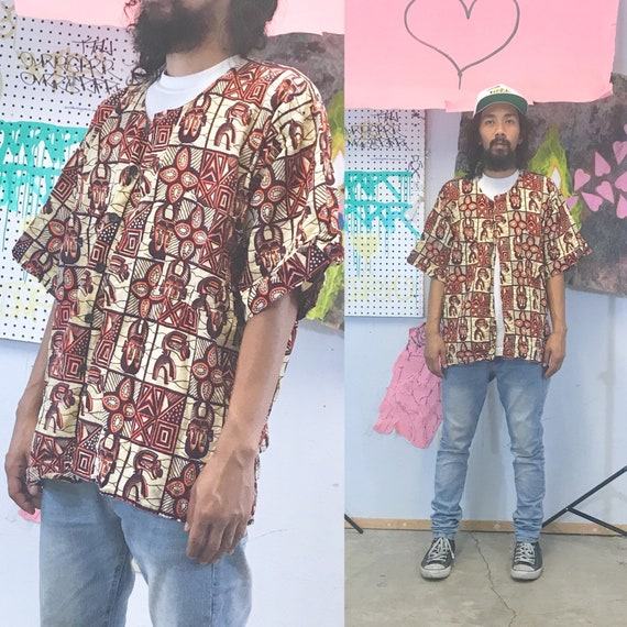 Vintage dashiki early 1990's all over print loud print 1980's african de la soul tribe called quest size medium