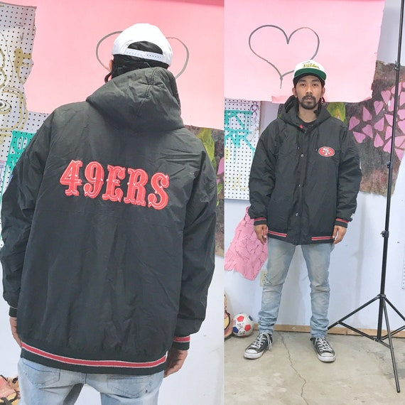 Vintage starter 49ers 1990s 1980s black hoodie zip up black size xl