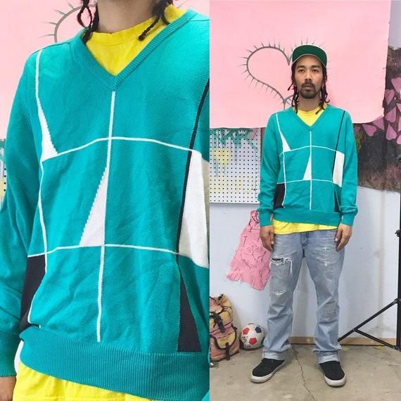 Vintage Titleist Golf Sweater V-neck Teal Medium 1990s 1980s