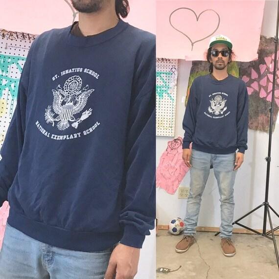 Vintage sweatshirt st ignacius blue 1990s 1980s 90s 80s size xl
