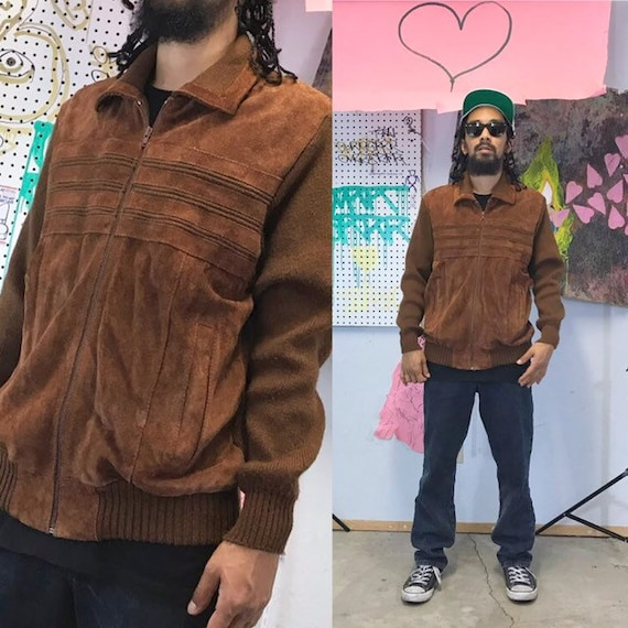 1980's leather acrylic jacket brown jacket moto racing 1970's