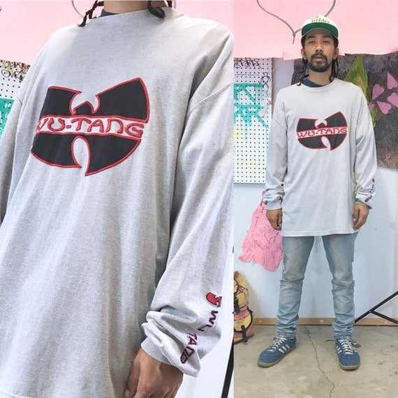 Vintage wu tang clan long sleeve shirt 1990s 1980s size xl grey wu shirt