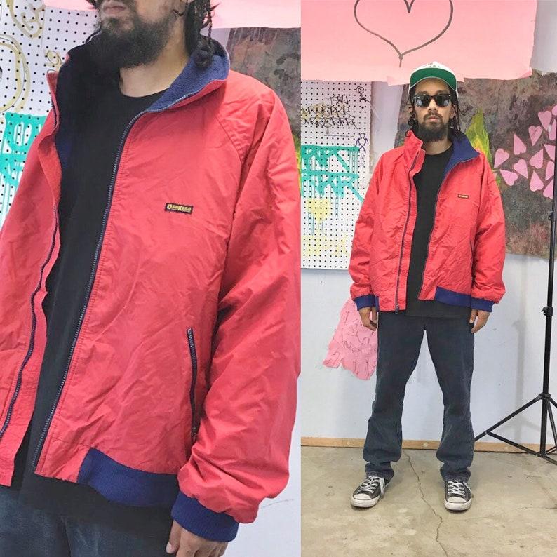 Vintage windbreaker jacket red jacket osh kosh bgosh 1980s fleece lining workwear carharrt