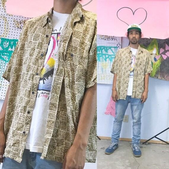 Vintage all over print shirt loud print shirt rayon cotton 1990s 1980s