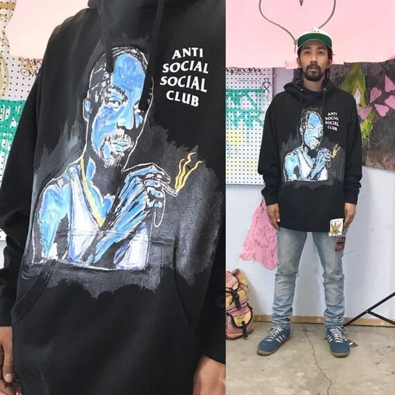 Hand-painted snoop dogg hoodie anti social social club size xl streetwear