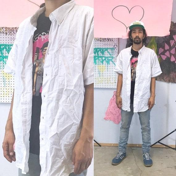 Vintage cotton shirt white shirt size xl 1990s 1980s oversized boxy