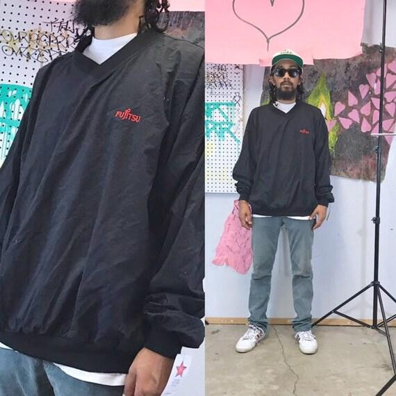 Vintage windbreaker jacket fujitsu black tech company 1990s silicon valley