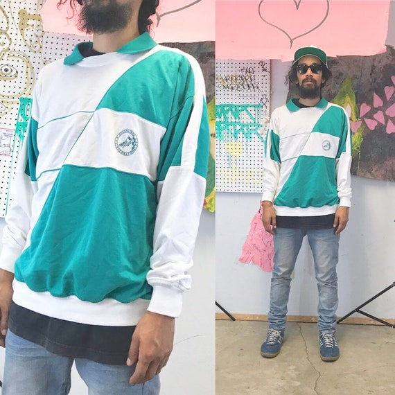 Vintage sweatshirt pullover collared polo sweater 1990s 1980s white green size medium