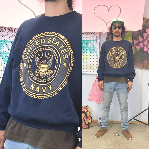 Vintage Navy sweater 3M size large military blue dark blue 1980's 1990s