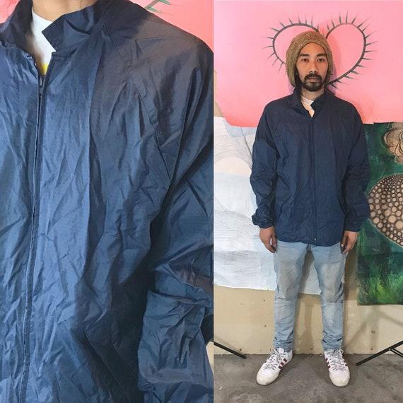 Vintage Athletic Nylon Jacket by Forrester's Blue Large 1990s 1980s