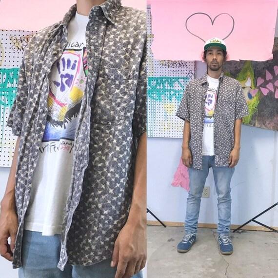 Vintage loud print shirt cotton shirt all over print 1990s 1980s size large