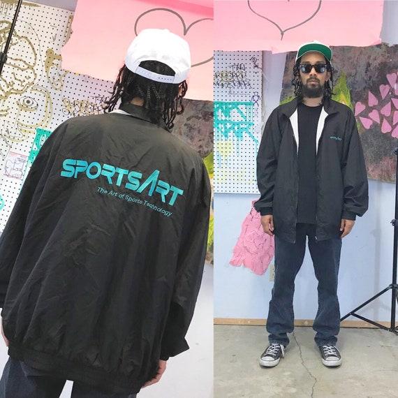 Vintage windbreaker jacket black jacket reversible 1990s tech company size xl