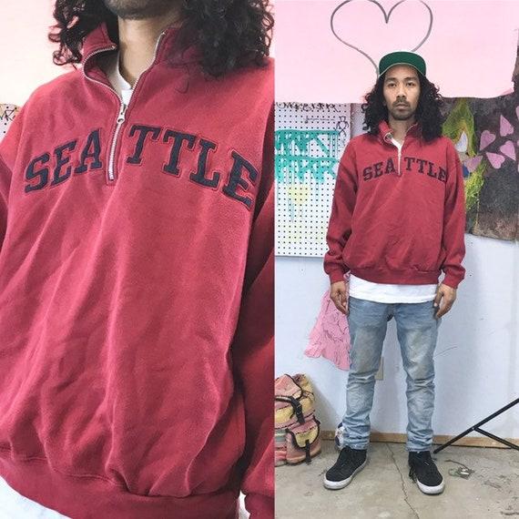 Vintage quarter zip red sweatshirt seattle red burgundy 1990s 1980s size large